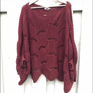 entro Sweaters - Women s Wine Color Oversized Shrug 5cd1b9a29